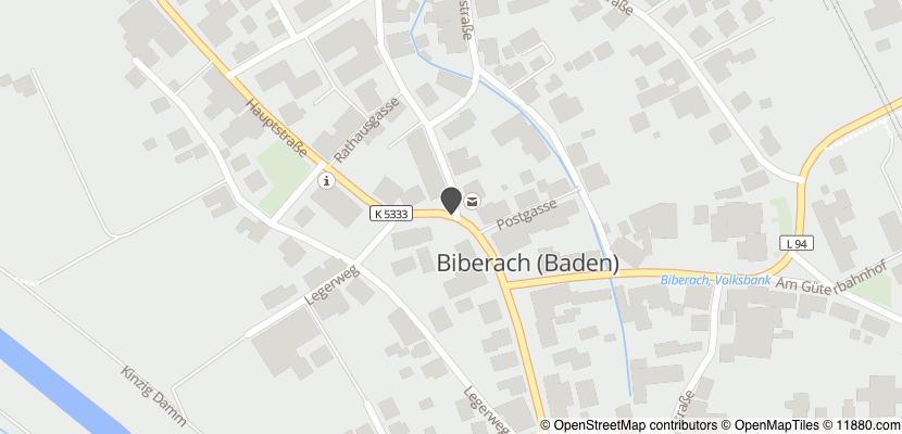 Auf Stadtplan Biberach, Baden anzeigen
