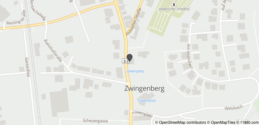 Auf Stadtplan Zwingenberg, Bergstraße anzeigen